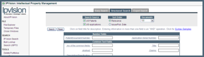 Patent Search Screen Example from patent software - IPVision Advantage and See-the-forest.com